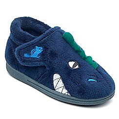 Chipmunks - Boys' navy 'Dino' the dinosaur slippers in soft textile