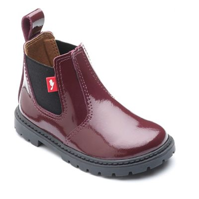Chipmunks - Girls' burgundy 'Ranch' boot in patent leather