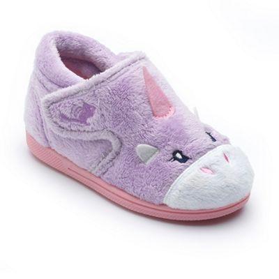 Chipmunks - Girls' lavender 'Unicorn' slippers