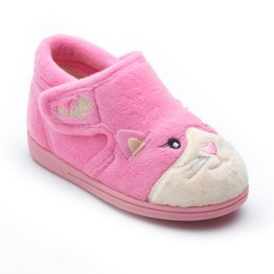 Chipmunks - Girls' pink 'Kiki' the cat slippers in soft textile