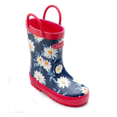 Chipmunks - Girls' floral 'Daisy' wellingtons in navy and red rubber