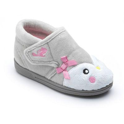 Chipmunks - Girls' grey 'Piper' the penguin slippers soft textile