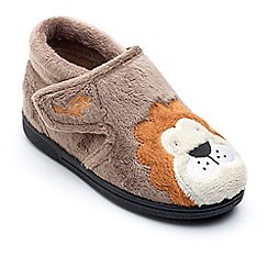 Chipmunks - Boys' brown 'Lionel' the lion slippers in soft textile
