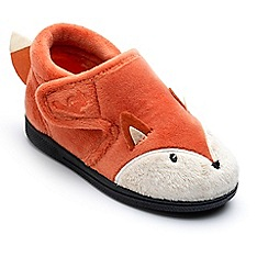 Chipmunks - Boys' orange 'Mr Fox' slippers in soft textile