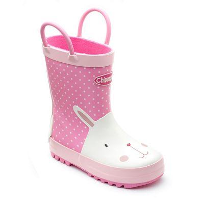 Chipmunks - Girls' rabbit 'Lopsy' wellingtons in pink polka dot rubber
