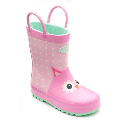 Chipmunks - Girls' owl 'Adore' wellingtons in pink rubber