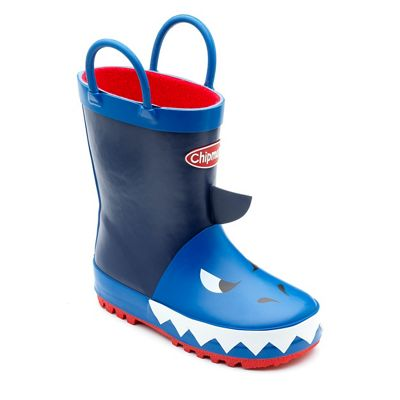Chipmunks - Boys' navy 'Jaws' wellingtons with 3D shark print
