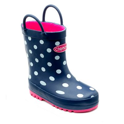 Chipmunks - Girls' navy 'Jill' wellingtons with polka dot print