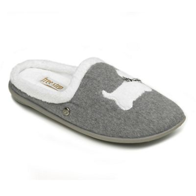 Freestep - Ladies grey 'Westie' EEE fit mule slippers