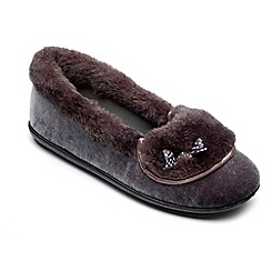 Freestep - Ladies charcoal 'Maria' slippers