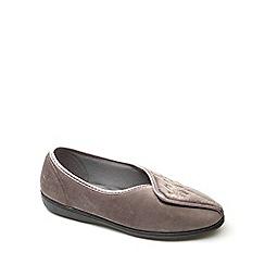Freestep - Taupe textile 'Fiona' ladies slipper