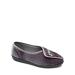 Freestep - Charcoal textile 'Fiona' ladies slipper