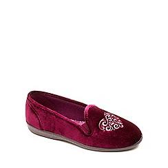 Freestep - Burgundy textile 'April' ladies slipper