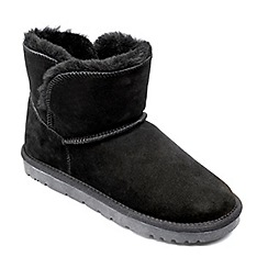 Freestep - Ladies real sheepskin ankle boot in black