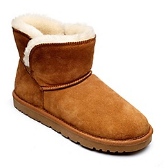 Freestep - Ladies real sheepskin ankle boot in tan