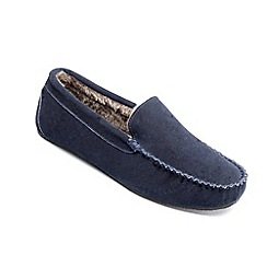 Freestep - Navy suede 'Clark' moccasin slippers