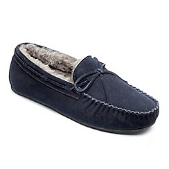Peter Werth - Peter werth mens real sheepskin moccasin slipper in navy suede.