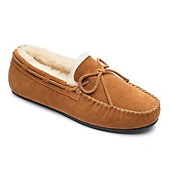 Peter Werth - peter Werth mens real sheepskin moccasin slipper in tan suede.