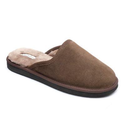 Peter Werth   Peter Werth Mens Real Sheepskin Mule Slippers In Brown Suede by Peter Werth