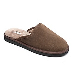 Peter Werth - Peter Werth mens real sheepskin mule slippers in brown suede