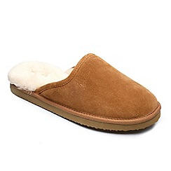 Peter Werth - Peter Werth mens real sheepskin mule slippers in tan suede
