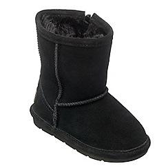 Chipmunks - Girls black 'jersey' suede boot