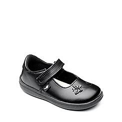 Chipmunks - Girls 'Paige' black leather school shoe