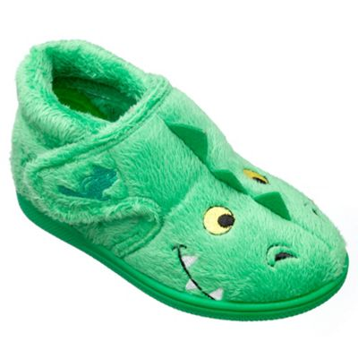 Chipmunks - Boys' green 'Scorch' the dragon slippers in soft textile