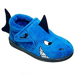 Chipmunks - Boys' blue 'Sharky' slippers in soft textile