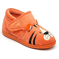 Chipmunks - Boys' orange 'Tommy' the tiger slippers in soft textile