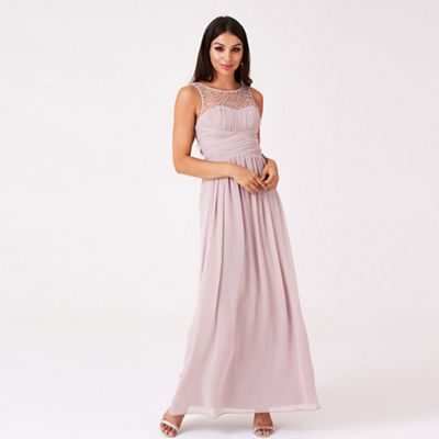 Little Mistress - Mink embellished neck maxi dress b270fe102e