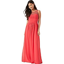 Little Mistress - Coral embellished maxi dress