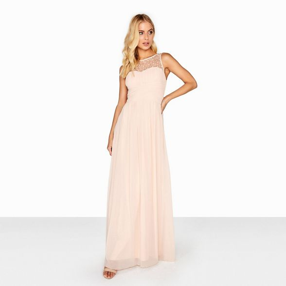 maxi Nude dress top embellished Little Mistress IHaP66