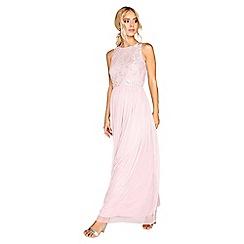 Little Mistress - Pink embroidered maxi dress