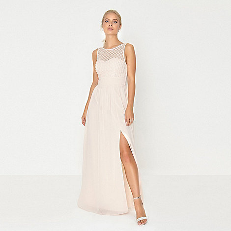 6108d5a489 Little Mistress Nude Pearl and Lace Maxi Dress