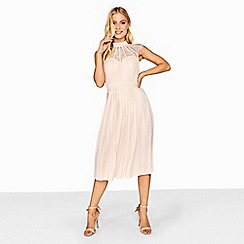 Little Mistress - Nude pleated midi dress