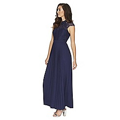 Little Mistress - Navy pleated maxi dress