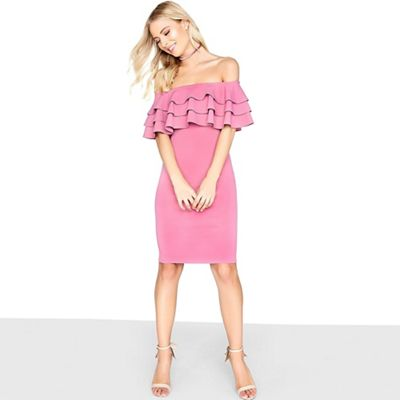 Girls On Film   Tiered Frill Bodycon Dress by Girls On Film