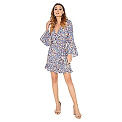 Girls On Film - Printed wrap with frill sleeves dress