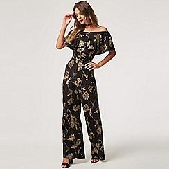 Girls On Film - Black wavelength black floral plisse jumpsuit