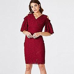 Girls On Film - Red elixir lace cold shoulder dress