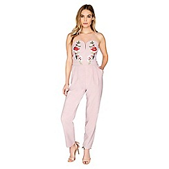 Girls On Film - Pink embroidered jumpsuit