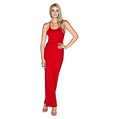 Girls On Film - Red lace back maxi dress
