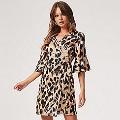 Girls On Film - Brown jagger satin wrap dress in leopard
