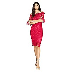 Paper Dolls - Sydney lace bardot dress with fluted sleeves