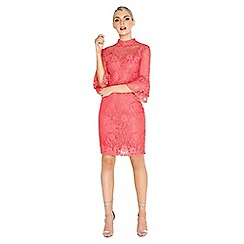 Paper Dolls - Coral fluted dress