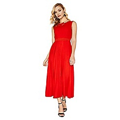 Little Mistress - Red Lottie Applique Dress With Pleated Skirt