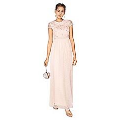 Little Mistress - Arabella 3d floral mesh overlay maxi dress