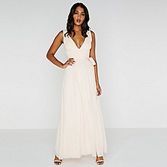 Little Mistress - Natural nude plunge maxi dress with tie
