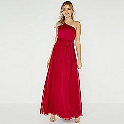 Little Mistress - Red pearl one shoulder satin top maxi dress